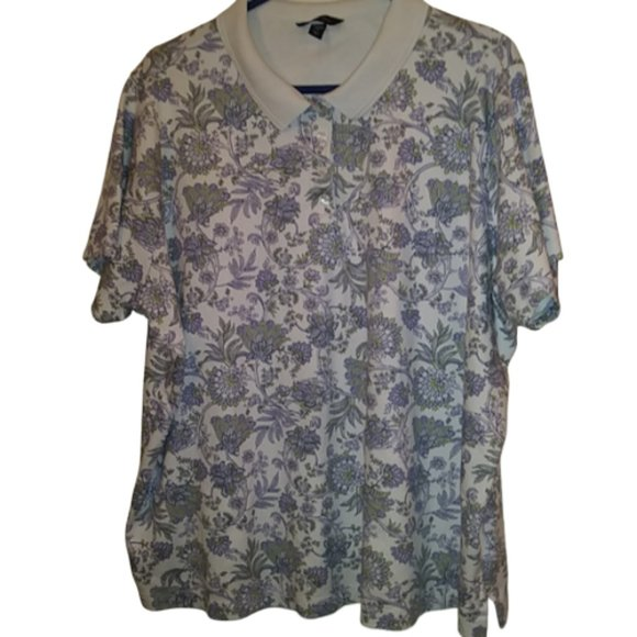 Land's End Floral Polo Shirt 3X